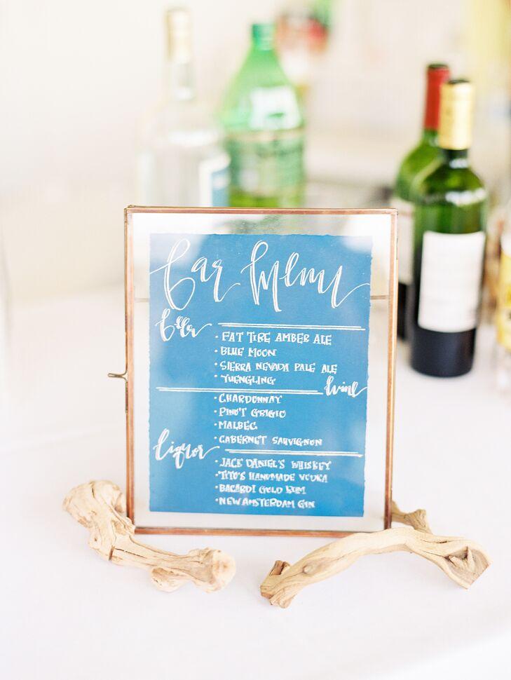 Blue Watercolor Wedding Cocktail Hour Bar Menu