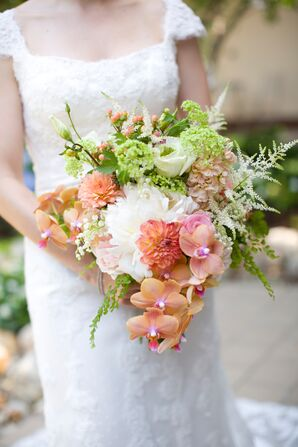 Whimsical Coral Peony and Orchid Bouquet