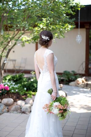 Lace Wedding Gown With Pearl Flower Headpiece