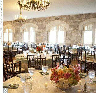 The chandeliers and stone walls in the historic Chateau Bellevue, built in 1874, perfectly complemented the couple's vintage theme.