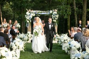 Romantic Recessional with Wedding Arch and Hydrangea Aisle Decorations