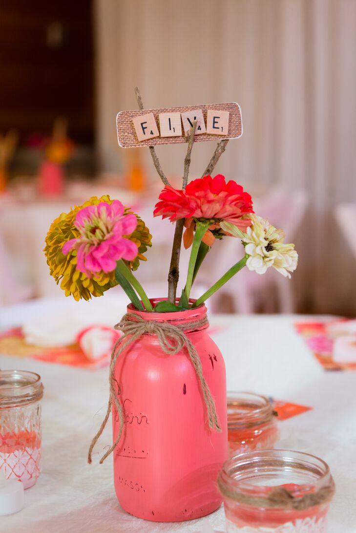 Bright Pink Painted Mason Jars