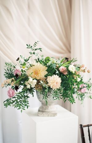 Vintage Marble Vase with Dahlias, Greenery and Roses