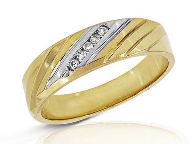 Two-tone gold diamond wedding ring