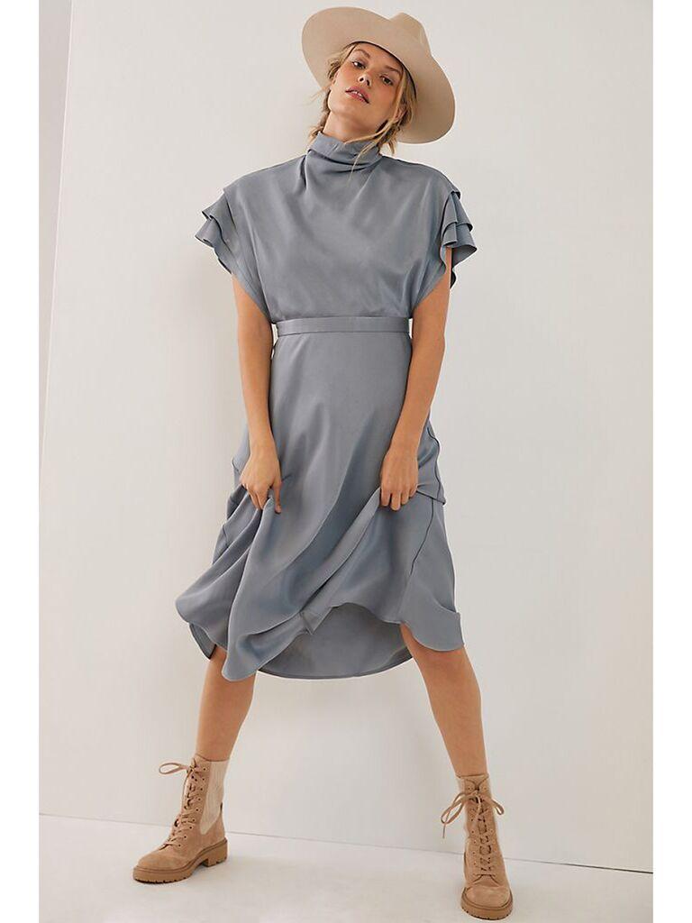 Gray midi dress with ruffle sleeves