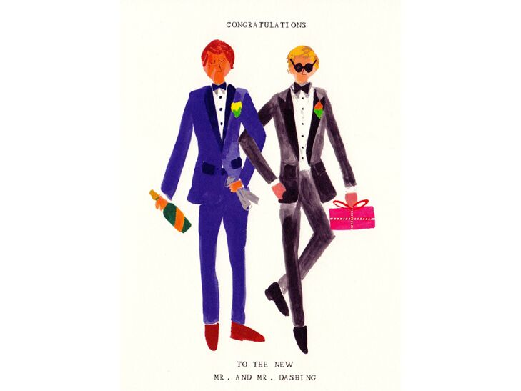 Watercolor illustration gay wedding card