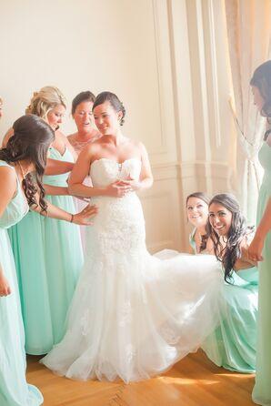 David Tutera Strapless Lace Mermaid-Style Wedding Dress