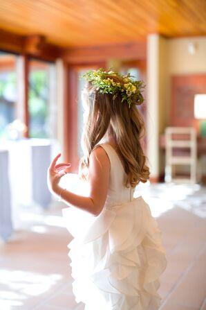 Ruffled Flower Girl Dress With Flower Crown