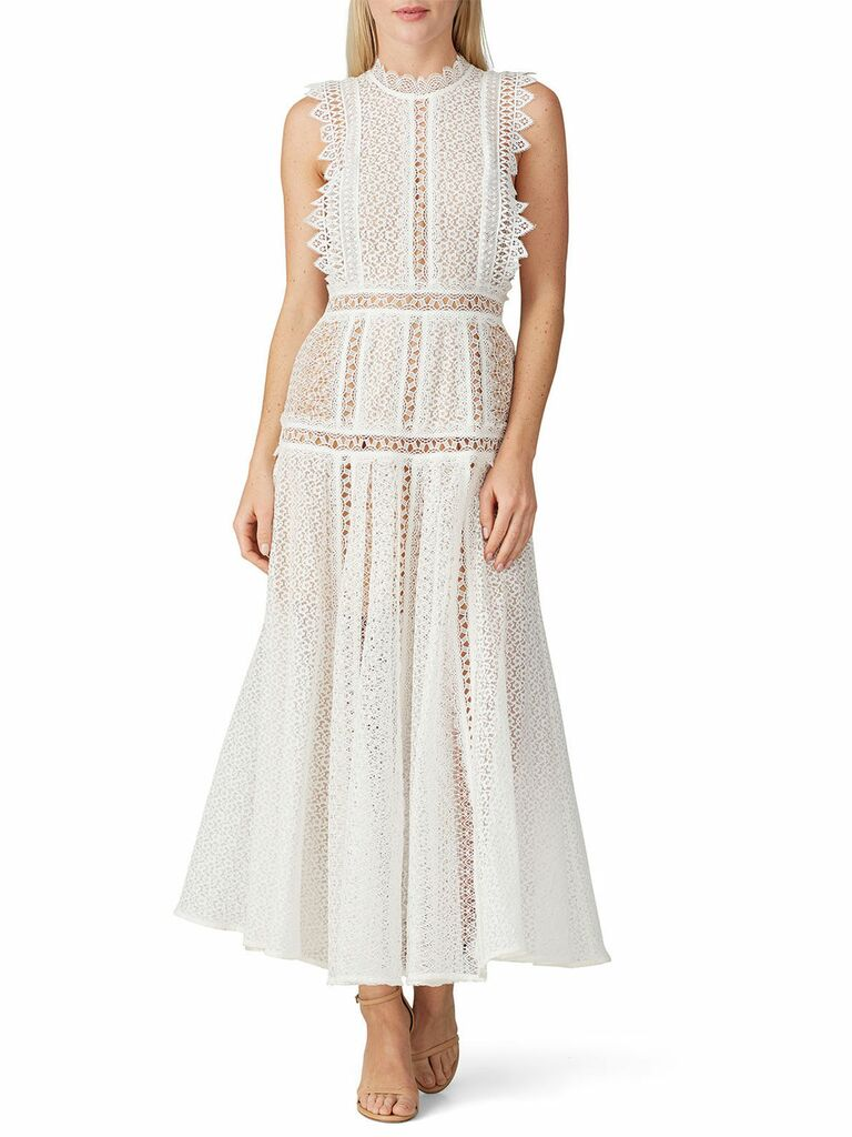 White lace maxi dress with high neckline