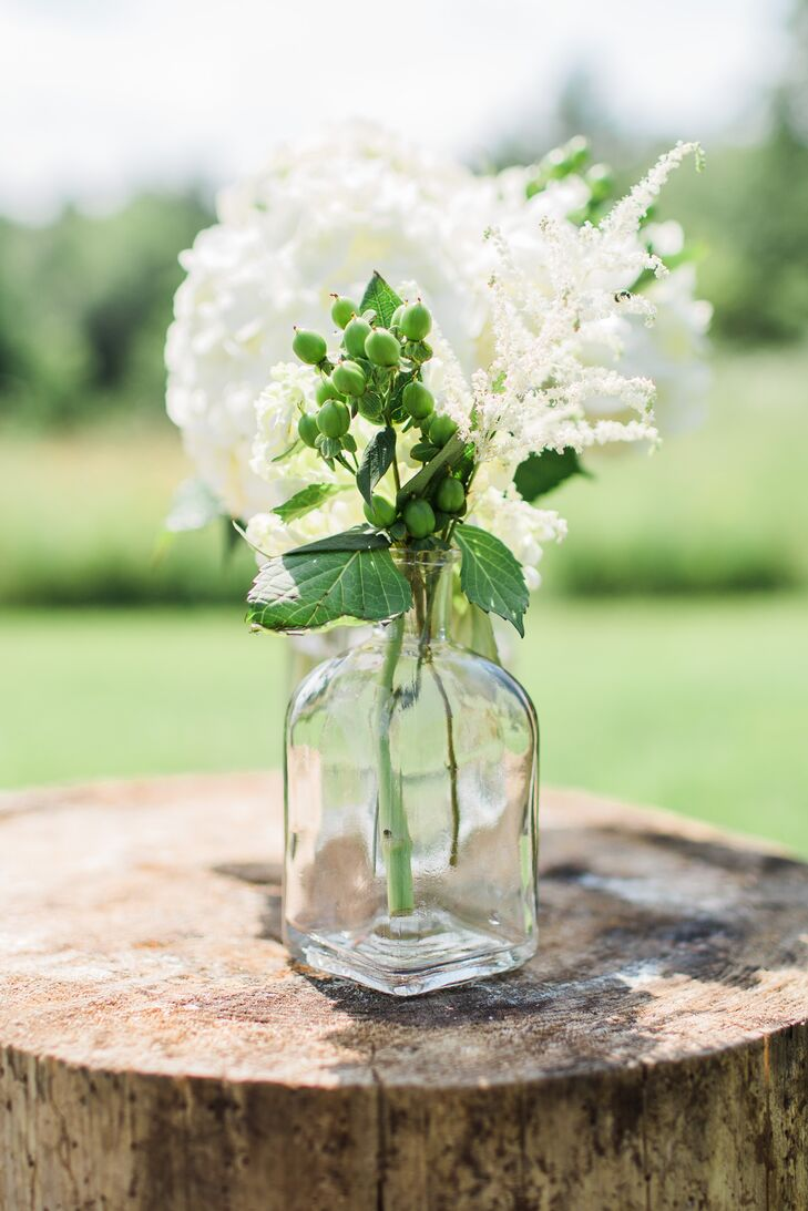 Bright White Hydrangea Aisle Markers