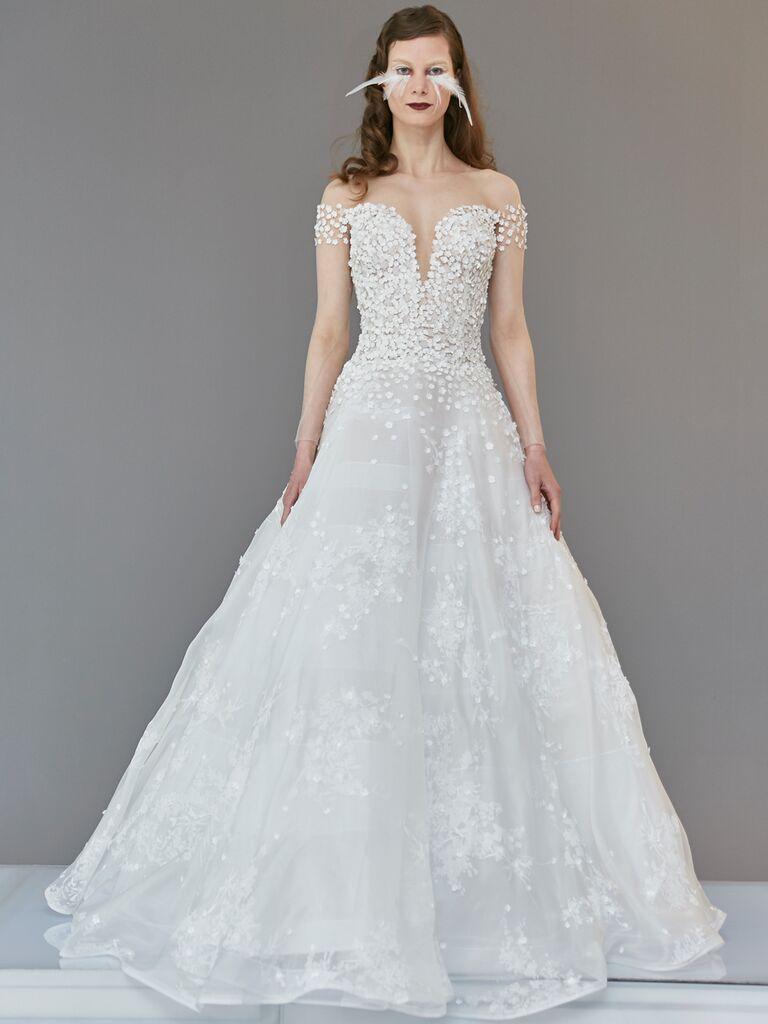 Francesca Miranda Spring 2020 Bridal Collection embellished off-the-shoulder wedding dress
