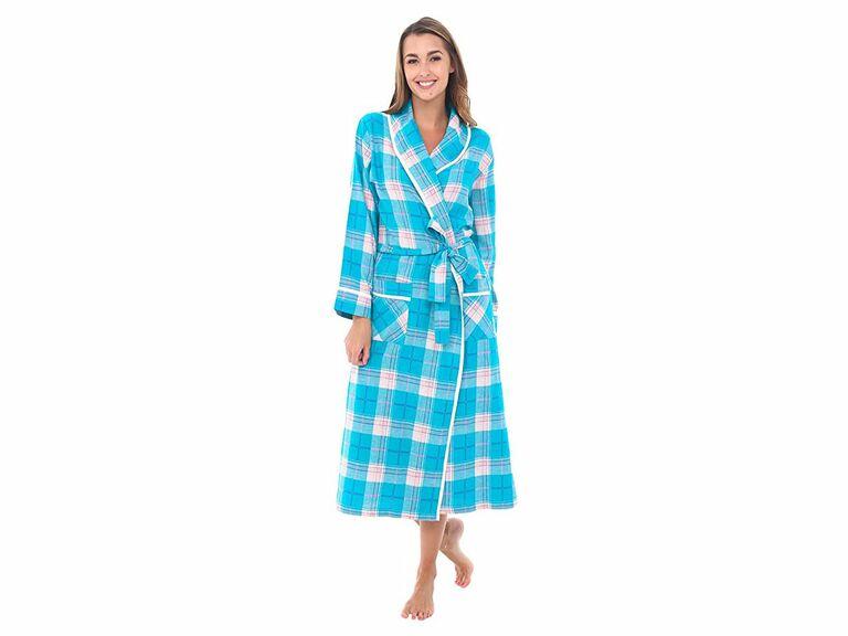 teal flannel bridesmaid robe