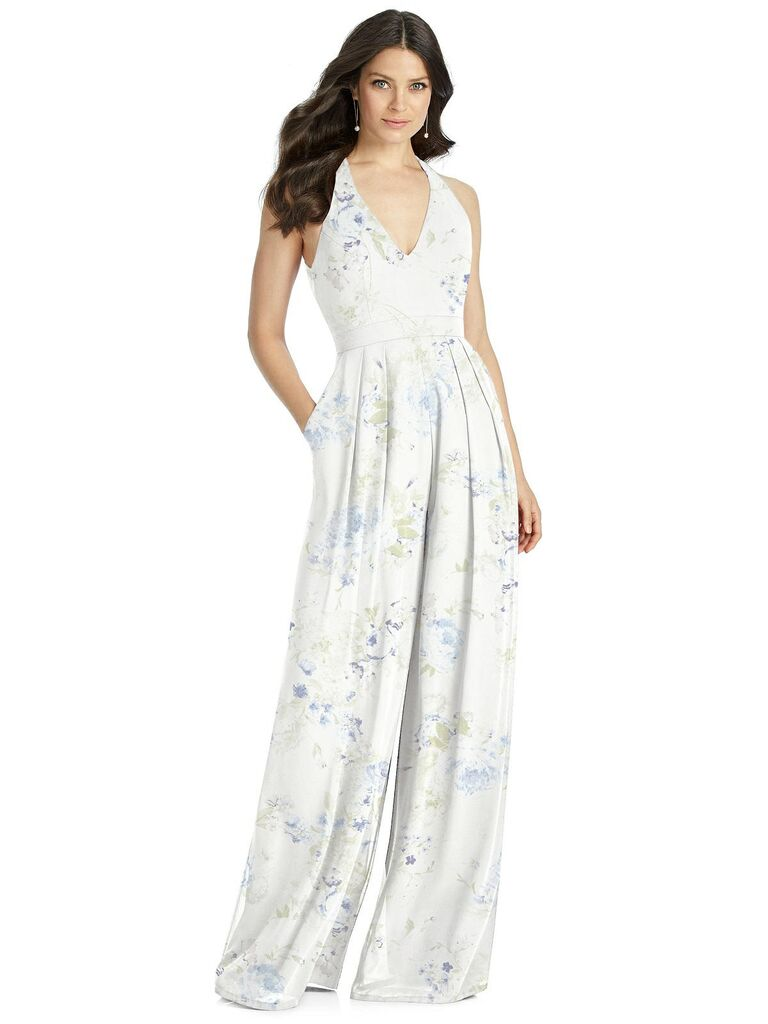 Blue and white floral bridesmaid jumpsuit