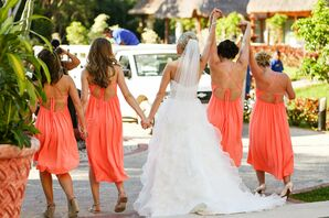 Coral Crisscross-Strapped Bridesmaid Dresses