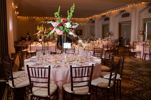Bells of Ireland, Rose and Hydrangea Centerpieces