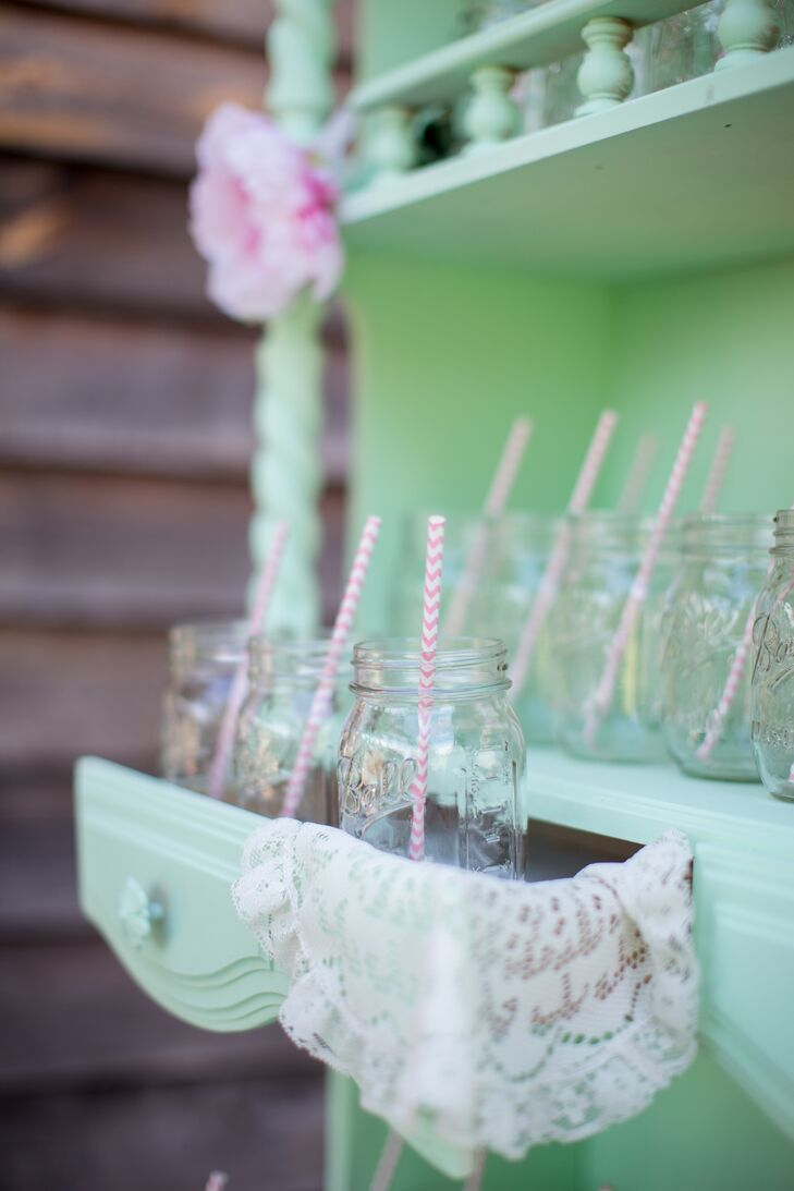 Mason Jars in Vintage Chest of Drawers