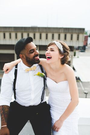 Bride in Lace Dress and Groom in Suspenders and Bow Tie