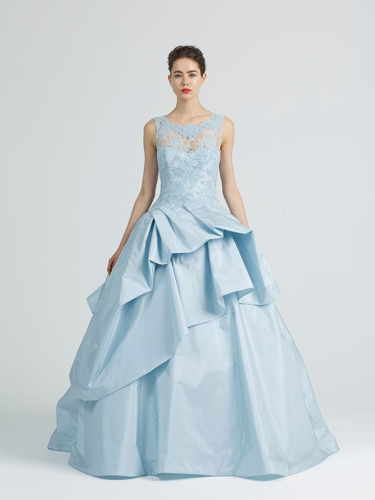 Kenneth Pool Blue Lace Allusion Neckline Ball Gown Wedding Dress