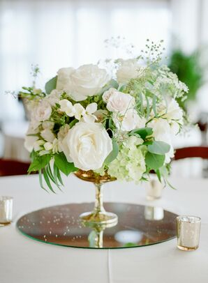 White Rose and Hydrangea Centerpieces on Mirror Pedestals