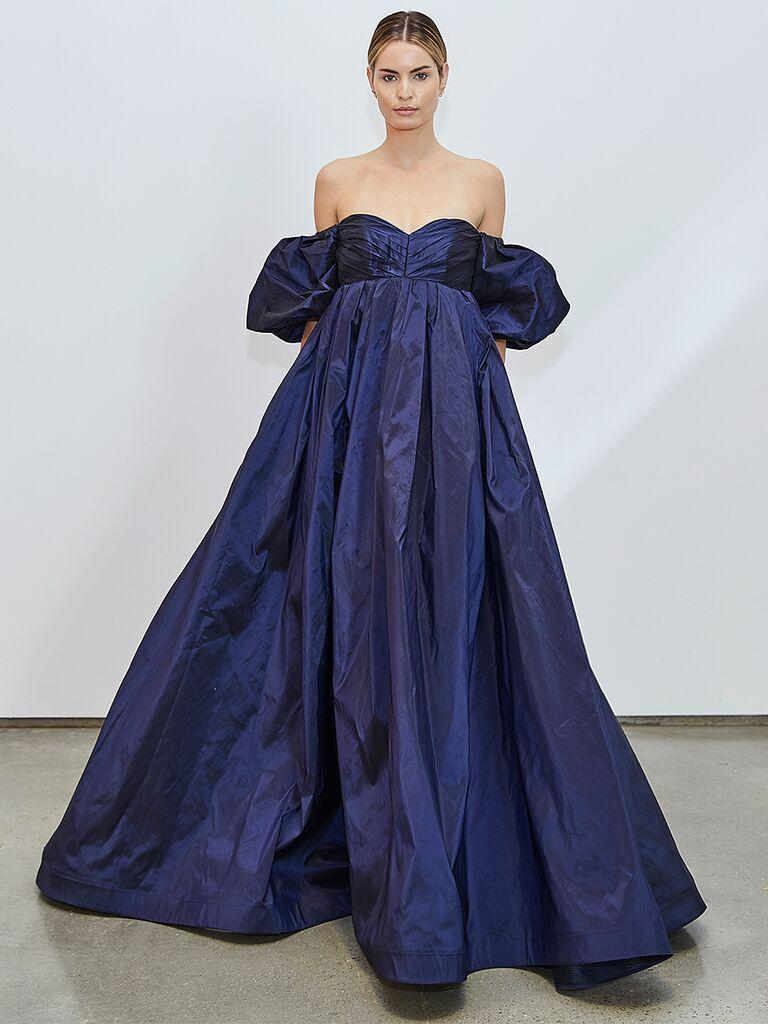 Francesca Miranda navy off-the-shoulder dress