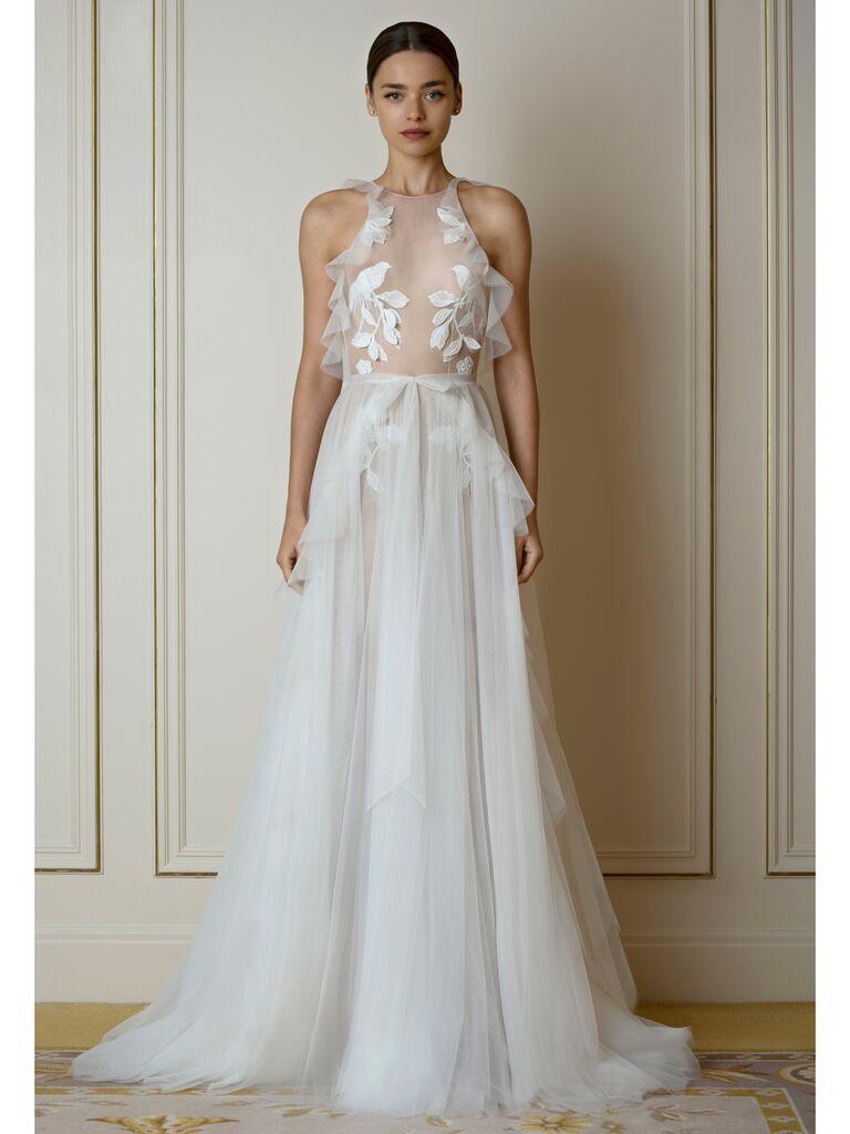 Sheer A-Line Wedding Dress with Ruffles
