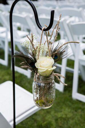 White Rose in Mason Jar Ceremony Aisle Decor