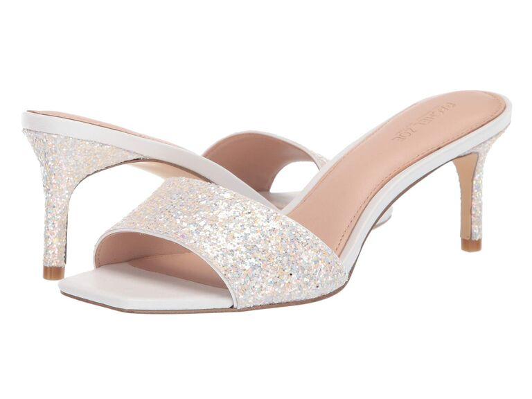 White sparkly wedding heel sandals