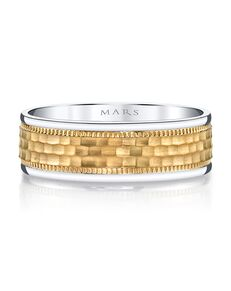 MARS Fine Jewelry MARS Jewelry G132 Men's Band Gold, White Gold Wedding Ring