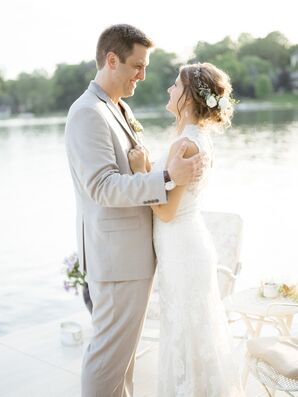 Rustic Bride and Groom at Backyard Lake House Wedding