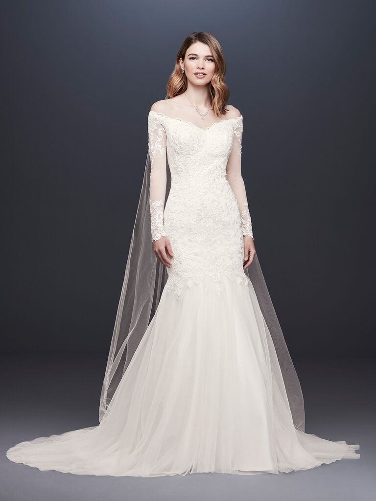 David's Bridal Spring 2019 lace embroidered wedding dress with a tulle skirt and off-the-shoulder long sleeves