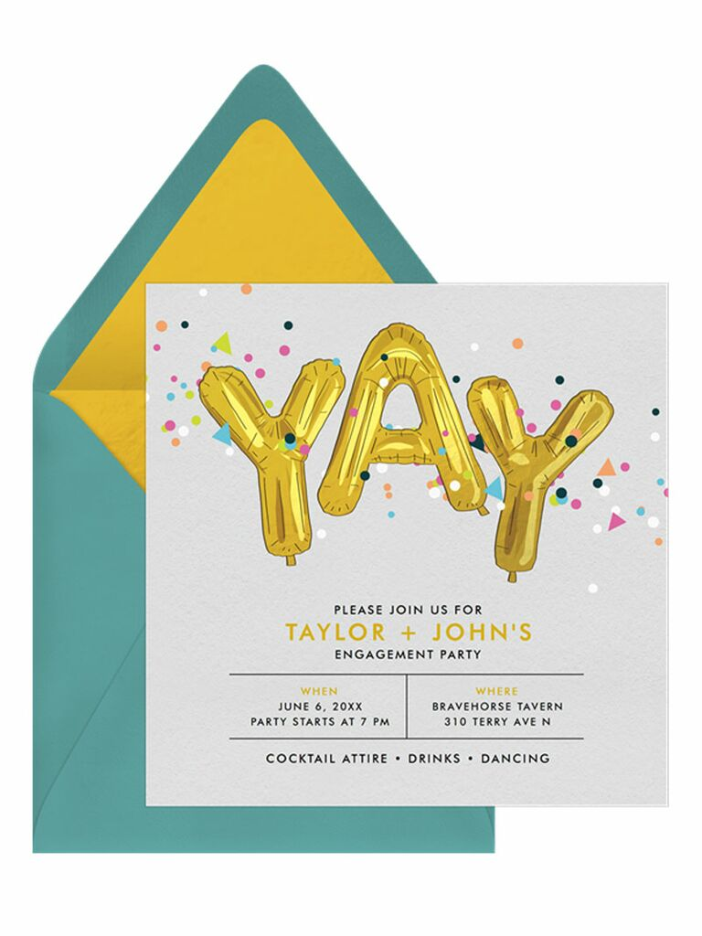Colorful fun engagement party invitation