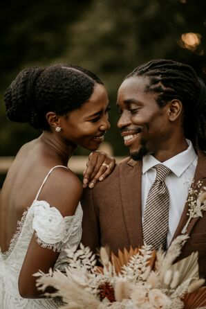 Couple Shares Embrace During Wedding in Durham, North Carolina
