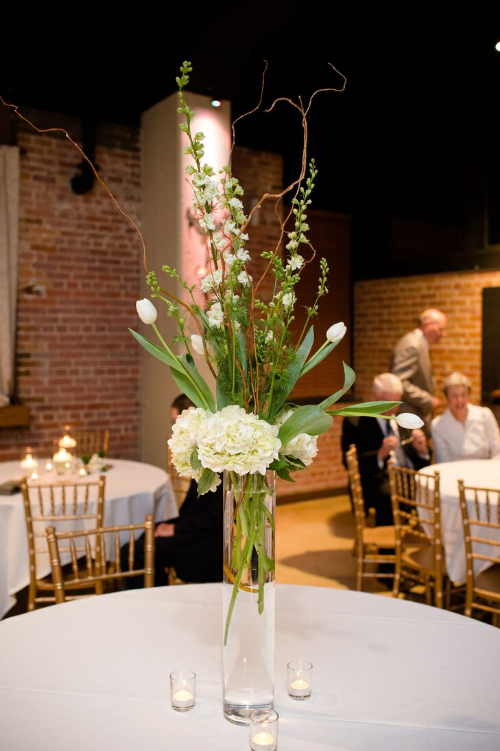 White and Green Tall Centerpieces