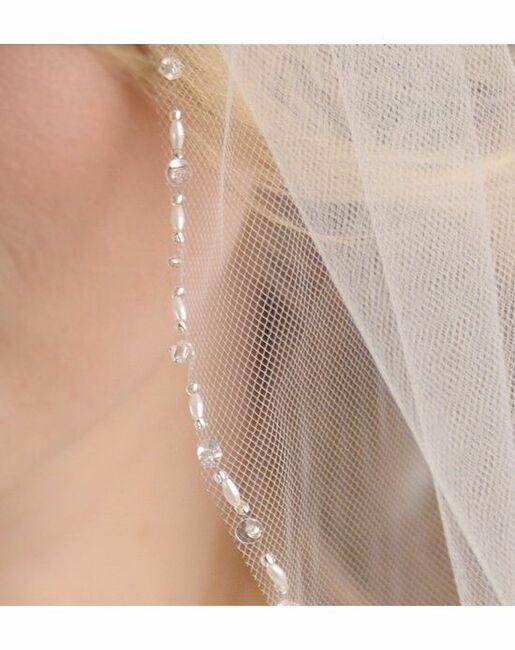 Dareth Colburn Anniston Beaded Edge Veil (VB-5032) Ivory Veil