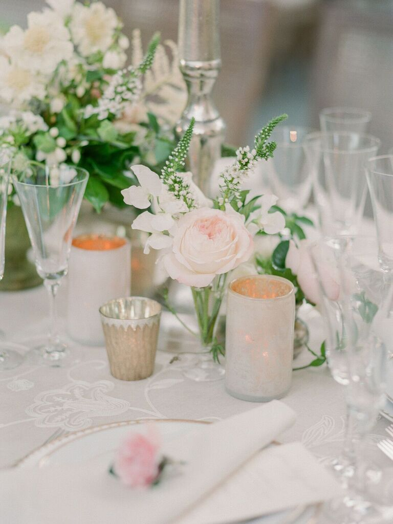 spring wedding centerpieces blush flowers with greenery