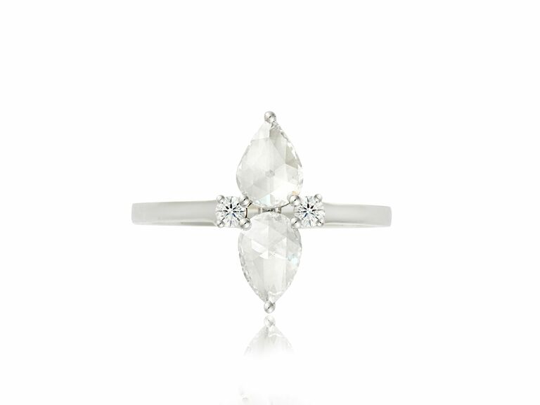pear-shaped rosecut diamond two stone ring in white metal