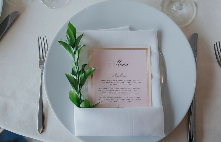 Classic Place Setting with Greenery and Menu