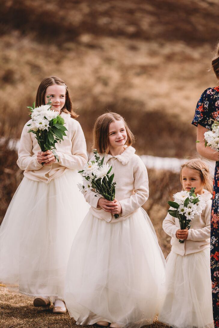 Organza Flower Girl Dresses and Ivory Cardigans