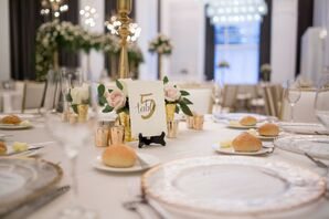 Dinner Table Decorated with Mercury Glass Votives, Roses and Table Number