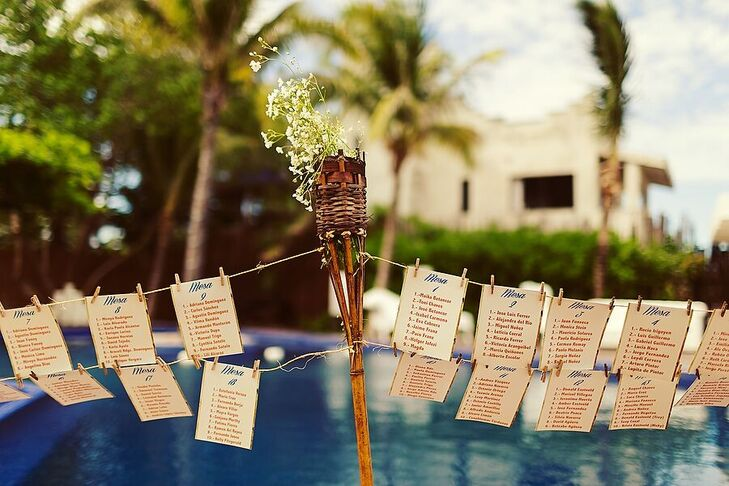 "Hanging escort cards with burnt edges continued the vintage decor. The blue script for ""Mesa"" evoked the colors of the blue water backdrop."