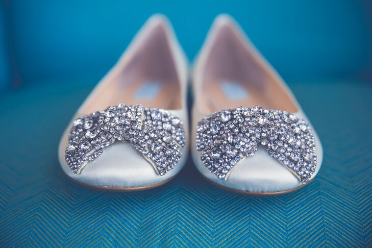 Silver Betsey Johnson Flats With Crystals