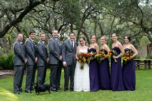 Purple and Gray Fall Wedding Party