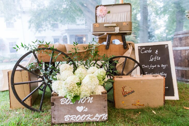 Antique Wagon Wheel and Suitcase Display
