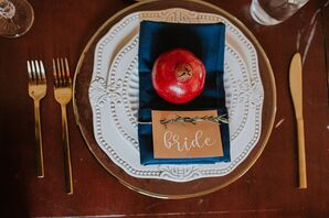 Rustic Place Setting with Place Cards, Pomegranate and Dinnerware