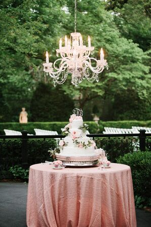 Formal Four-Tiered Wedding Cake with Flower Cascade