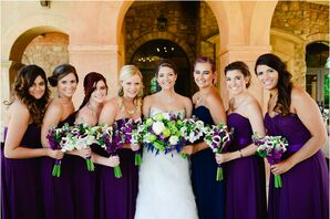 Bride with Bridesmaid Wearing Purple Dresses