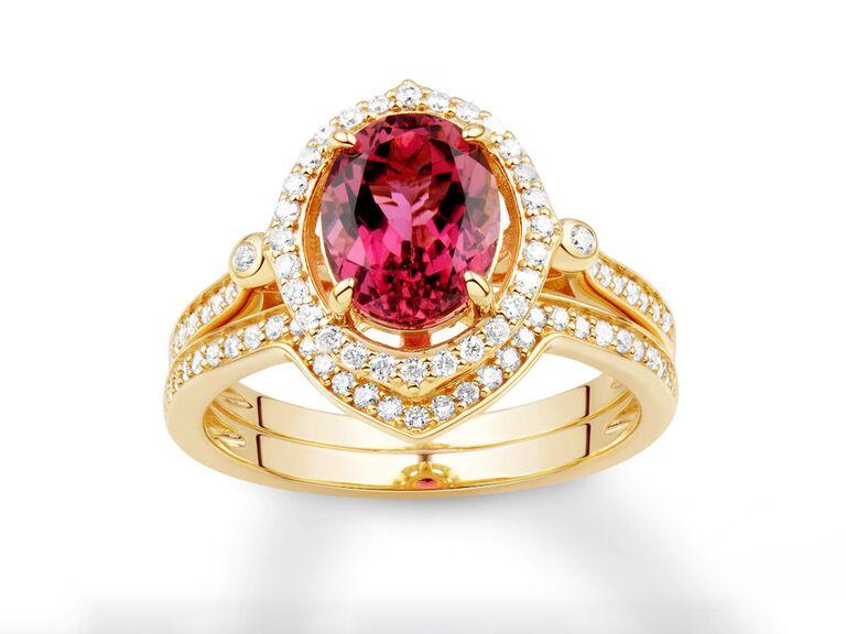 Jared pink tourmaline and diamond bridal set in 14K yellow gold
