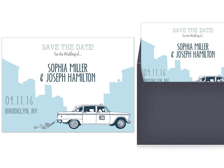 Brooklyn taxi cab themed save-the-date online card
