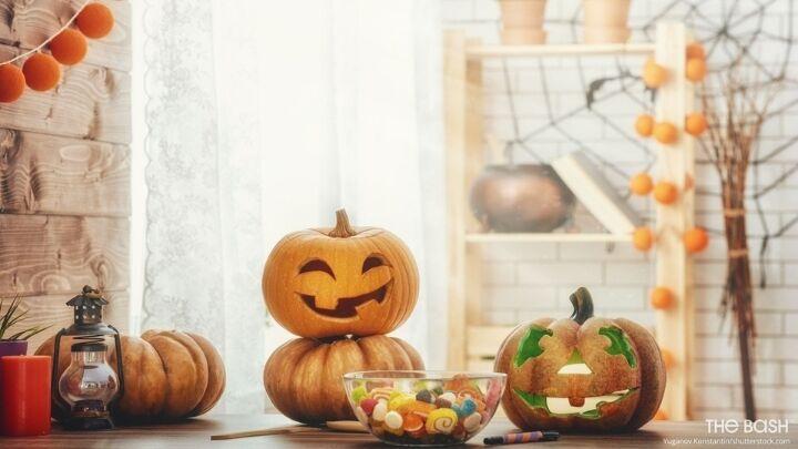 Halloween Zoom Background - Rustic Jack O Lanterns