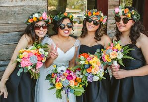 Bridesmaids with Flower Crowns and Sunglasses